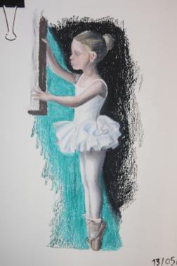 Menina bailarina, pastel de óleo sobre papel, 2015
