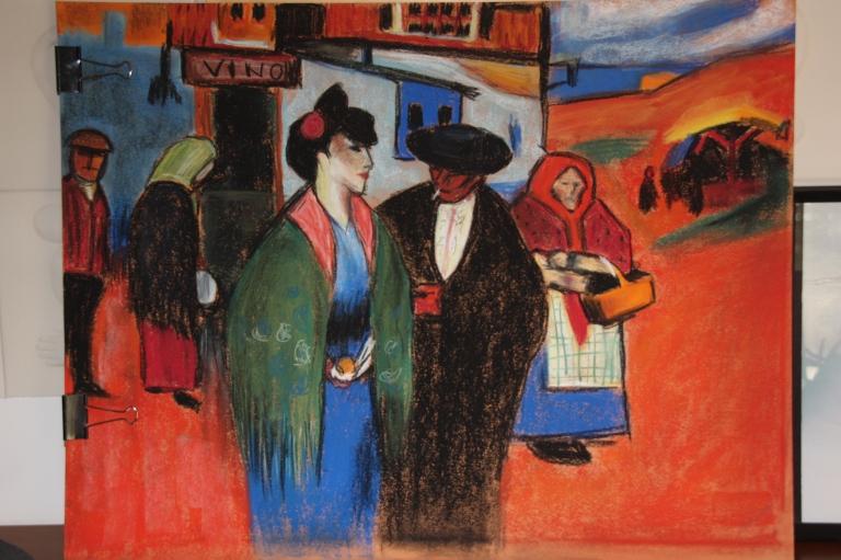 Réplica de Spanish Couple In Front Of Inn de Pablo Picasso, Pastel Seco, 2015
